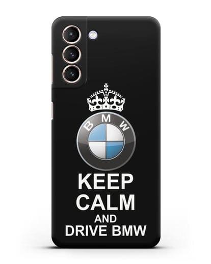 Чехол с надписью Keep Calm and Drive BMW силикон черный для Samsung Galaxy S21 [SM-G991B]