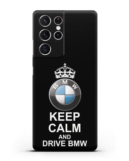 Чехол с надписью Keep Calm and Drive BMW силикон черный для Samsung Galaxy S21 Ultra [SM-G998B]