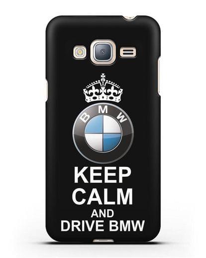 Чехол с надписью Keep Calm and Drive BMW силикон черный для Samsung Galaxy J3 2016 [SM-J320F]