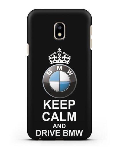 Чехол с надписью Keep Calm and Drive BMW силикон черный для Samsung Galaxy J3 2017 [SM-J330F]