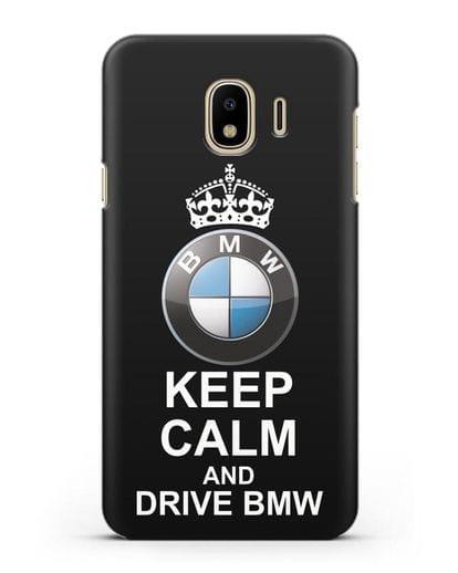 Чехол с надписью Keep Calm and Drive BMW силикон черный для Samsung Galaxy J4 2018 [SM-J400F]