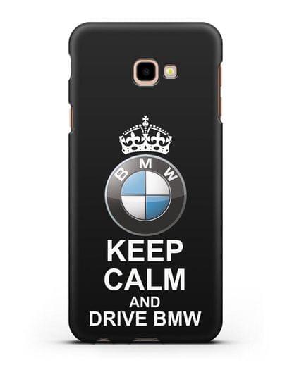 Чехол с надписью Keep Calm and Drive BMW силикон черный для Samsung Galaxy J4 Plus [SM-J415]