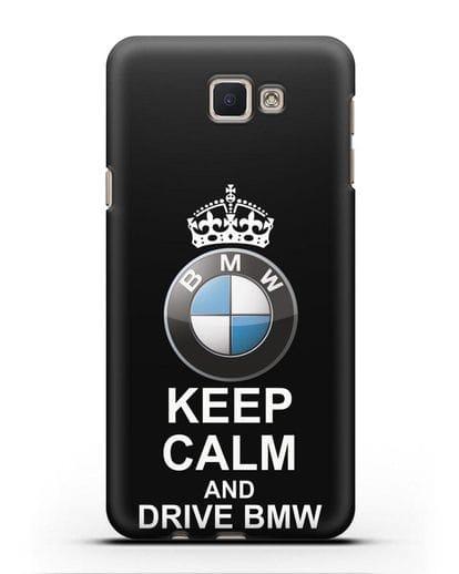 Чехол с надписью Keep Calm and Drive BMW силикон черный для Samsung Galaxy J5 Prime [SM-G570]