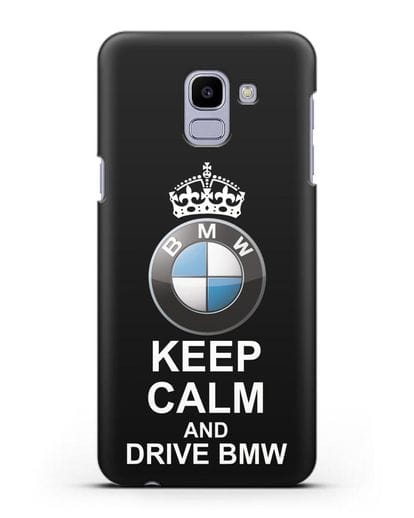 Чехол с надписью Keep Calm and Drive BMW силикон черный для Samsung Galaxy J6 2018 [SM-J600F]