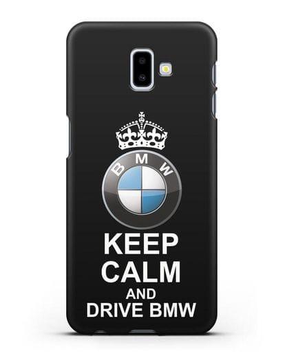 Чехол с надписью Keep Calm and Drive BMW силикон черный для Samsung Galaxy J6 Plus [SM-J610F]