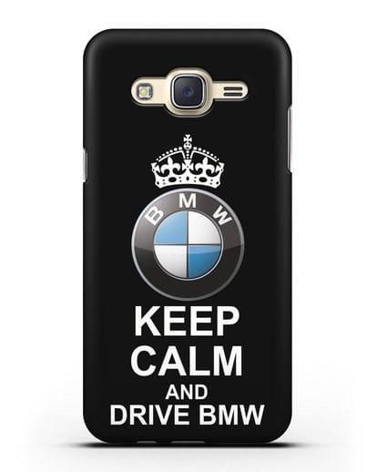 Чехол с надписью Keep Calm and Drive BMW силикон черный для Samsung Galaxy J7 2015 [SM-J700H]