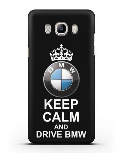 Чехол с надписью Keep Calm and Drive BMW силикон черный для Samsung Galaxy J7 2016 [SM-J710F]