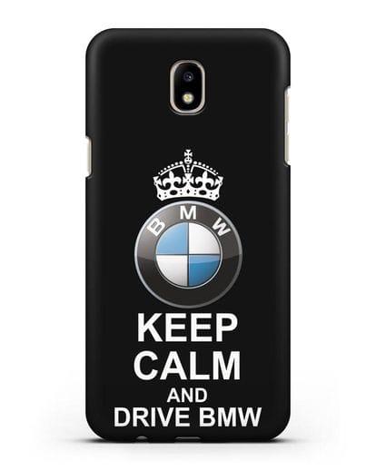 Чехол с надписью Keep Calm and Drive BMW силикон черный для Samsung Galaxy J7 2017 [SM-J720F]