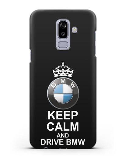 Чехол с надписью Keep Calm and Drive BMW силикон черный для Samsung Galaxy J8 2018 [SM-J810F]