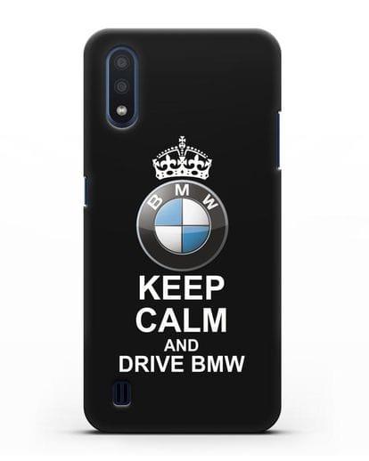Чехол с надписью Keep Calm and Drive BMW силикон черный для Samsung Galaxy M01 [SM-M015F]