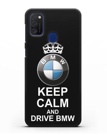 Чехол с надписью Keep Calm and Drive BMW силикон черный для Samsung Galaxy M21 [SM-M215F]