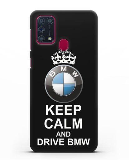 Чехол с надписью Keep Calm and Drive BMW силикон черный для Samsung Galaxy M31 [SM-M315F]