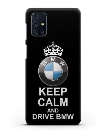Чехол с надписью Keep Calm and Drive BMW силикон черный для Samsung Galaxy M51 [SM-M515F]