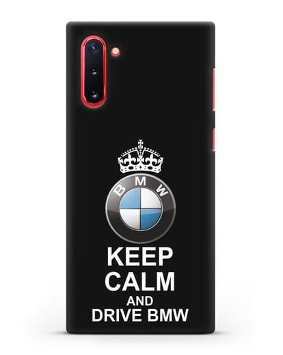 Чехол с надписью Keep Calm and Drive BMW силикон черный для Samsung Galaxy Note 10 [N970F]
