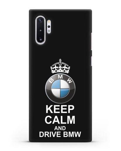 Чехол с надписью Keep Calm and Drive BMW силикон черный для Samsung Galaxy Note 10 Plus [N975F]