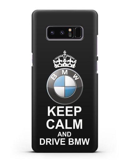 Чехол с надписью Keep Calm and Drive BMW силикон черный для Samsung Galaxy Note 8 [N950F]