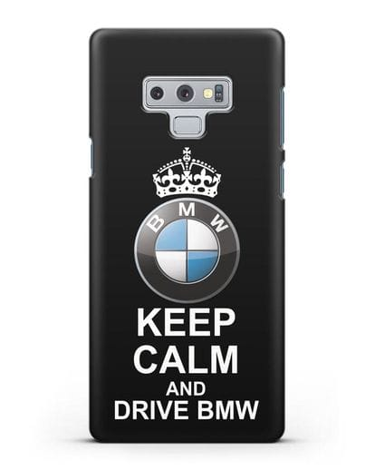 Чехол с надписью Keep Calm and Drive BMW силикон черный для Samsung Galaxy Note 9 [N960F]
