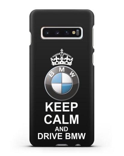 Чехол с надписью Keep Calm and Drive BMW силикон черный для Samsung Galaxy S10 Plus [SM-G975F]