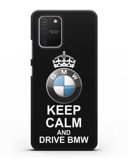 Чехол с надписью Keep Calm and Drive BMW силикон черный для Samsung Galaxy S10 lite [SM-G770F]