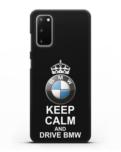 Чехол с надписью Keep Calm and Drive BMW силикон черный для Samsung Galaxy S20 [SM-G980F]