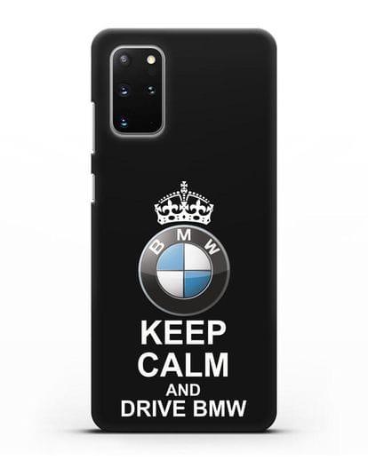 Чехол с надписью Keep Calm and Drive BMW силикон черный для Samsung Galaxy S20 Plus [SM-G985F]