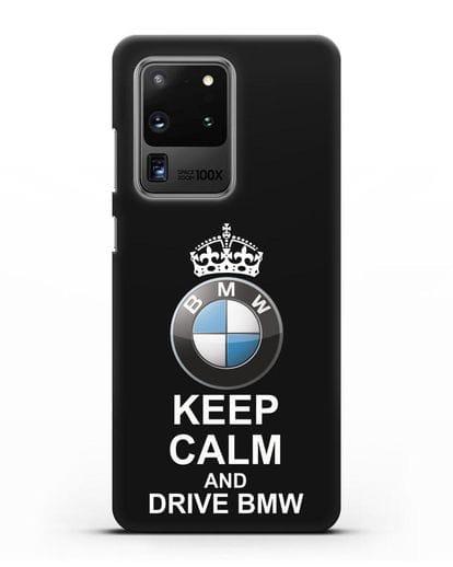Чехол с надписью Keep Calm and Drive BMW силикон черный для Samsung Galaxy S20 Ultra [SM-G988B]