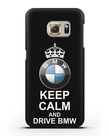 Чехол с надписью Keep Calm and Drive BMW силикон черный для Samsung Galaxy S6 [SM-G920F]