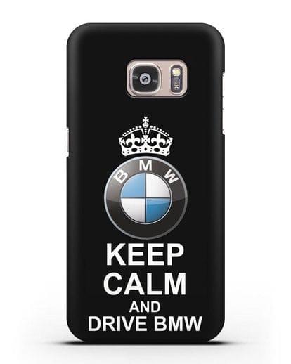 Чехол с надписью Keep Calm and Drive BMW силикон черный для Samsung Galaxy S7 [SM-G930F]