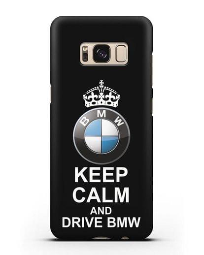 Чехол с надписью Keep Calm and Drive BMW силикон черный для Samsung Galaxy S8 [SM-950F]