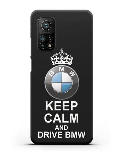 Чехол с надписью Keep Calm and Drive BMW силикон черный для Xiaomi Mi 10T