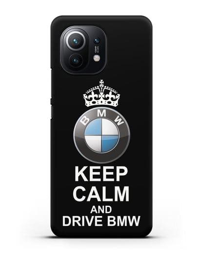 Чехол с надписью Keep Calm and Drive BMW силикон черный для Xiaomi Mi 11