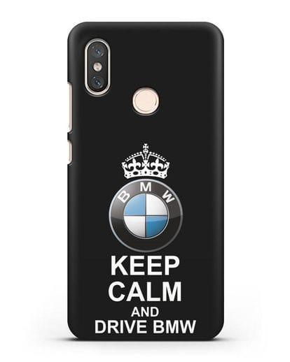 Чехол с надписью Keep Calm and Drive BMW силикон черный для Xiaomi Mi 8