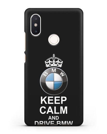 Чехол с надписью Keep Calm and Drive BMW силикон черный для Xiaomi Mi 8 SE