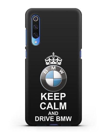 Чехол с надписью Keep Calm and Drive BMW силикон черный для Xiaomi Mi 9