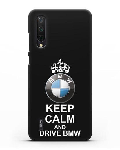 Чехол с надписью Keep Calm and Drive BMW силикон черный для Xiaomi Mi 9 Lite