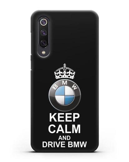 Чехол с надписью Keep Calm and Drive BMW силикон черный для Xiaomi Mi 9 SE