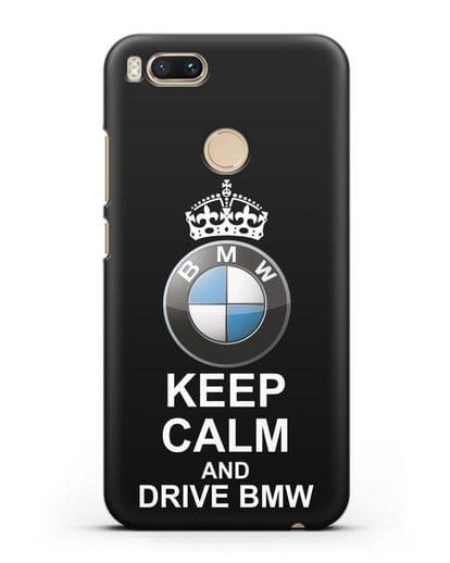 Чехол с надписью Keep Calm and Drive BMW силикон черный для Xiaomi Mi A1