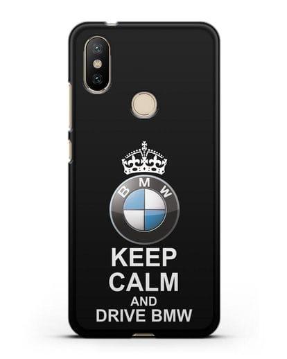 Чехол с надписью Keep Calm and Drive BMW силикон черный для Xiaomi Mi A2