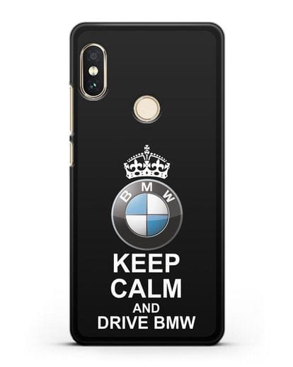 Чехол с надписью Keep Calm and Drive BMW силикон черный для Xiaomi Mi A2 Lite