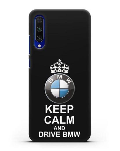 Чехол с надписью Keep Calm and Drive BMW силикон черный для Xiaomi Mi A3