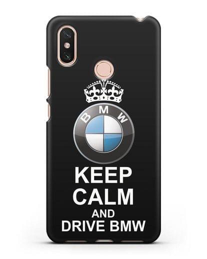 Чехол с надписью Keep Calm and Drive BMW силикон черный для Xiaomi Mi Max 3