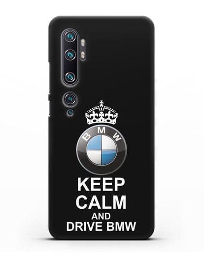 Чехол с надписью Keep Calm and Drive BMW силикон черный для Xiaomi Mi Note 10