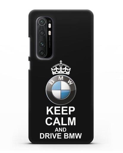 Чехол с надписью Keep Calm and Drive BMW силикон черный для Xiaomi Mi Note 10 lite