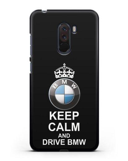 Чехол с надписью Keep Calm and Drive BMW силикон черный для Xiaomi Pocophone F1