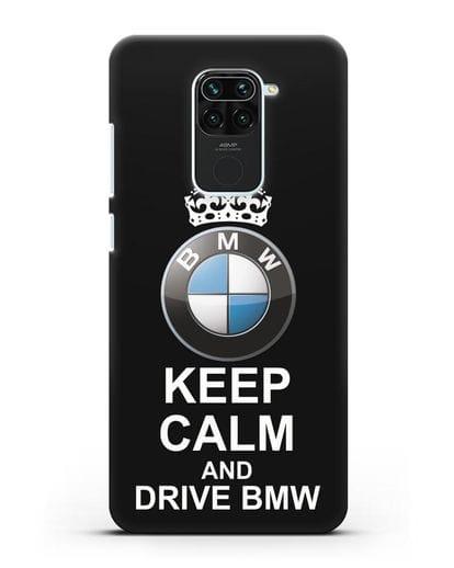 Чехол с надписью Keep Calm and Drive BMW силикон черный для Xiaomi Redmi 10X