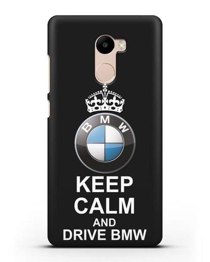 Чехол с надписью Keep Calm and Drive BMW силикон черный для Xiaomi Redmi 4