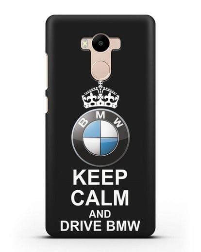 Чехол с надписью Keep Calm and Drive BMW силикон черный для Xiaomi Redmi 4 Pro