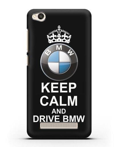 Чехол с надписью Keep Calm and Drive BMW силикон черный для Xiaomi Redmi 4A
