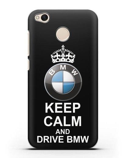 Чехол с надписью Keep Calm and Drive BMW силикон черный для Xiaomi Redmi 4X