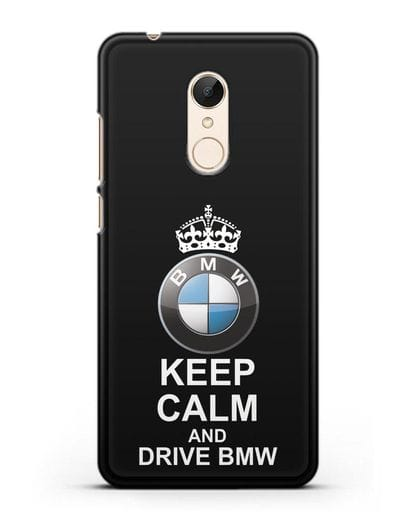 Чехол с надписью Keep Calm and Drive BMW силикон черный для Xiaomi Redmi 5 Plus